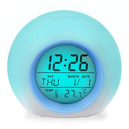 HAMSWAN Despertadores, [Regalos] Reloi Alarma, Clock, Despertadores Cambiado Entre 7 Colores con 8 Tonos, Tempreatura para Padres Estudios y Niños ect.