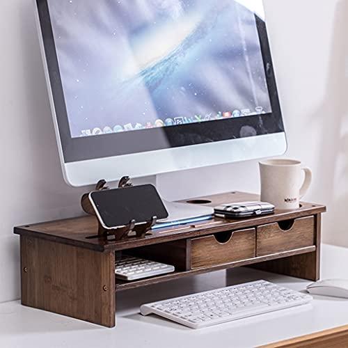 2 Soporte de elevador de monitor de nivel con cajón, estante de escritorio de la computadora de la computadora de bambú con el almacenamiento del teclado y el soporte para teléfonos móviles, madera de