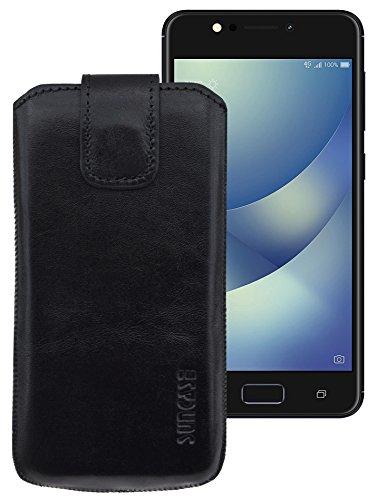 Suncase ECHT Ledertasche Leder Etui für ASUS ZenFone 4 Selfie Pro Tasche (mit Rückzugsfunktion) schwarz