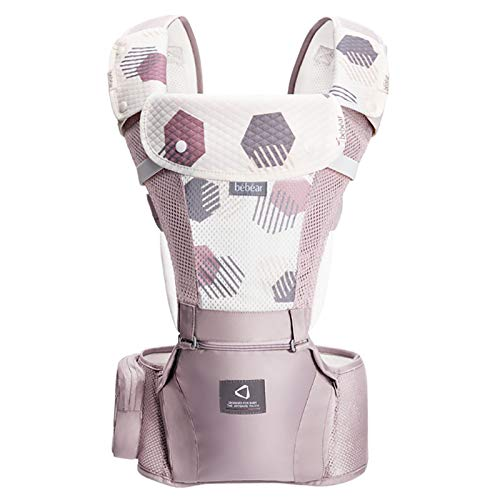 Bebamour Marsupio per 0-36 mesi, marsupio traspirante da neonato a bambino, approvato dagli standard di sicurezza, seggiolino ergonomico 6 in 1 anteriore (3D Air Pink)
