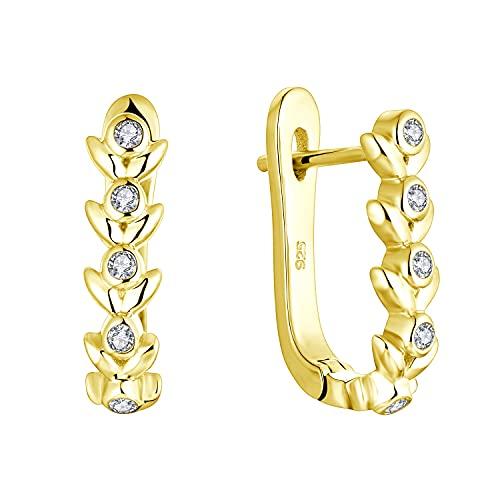 Starchenie Pendientes Mujer Plata de ley 925 Arete Hoja Pendientes oro Blanco Circonita cúbica 3A Joyas para mujeres