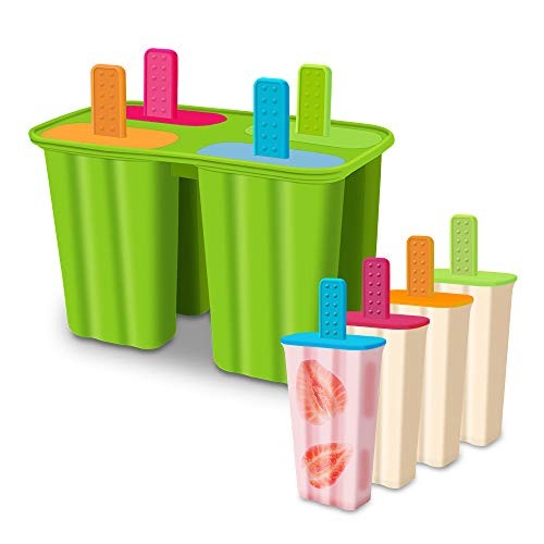 Silicone Popsicle Molds Ice Pop Molds Maker BPA Free - Set of 4 - Food...