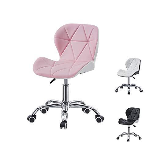 CLIPOP Silla de escritorio de oficina, color rosa, blanco mezclado, silla de escritorio con ruedas giratorias, silla giratoria acolchada para muebles de oficina en el hogar (rosa + blanco)