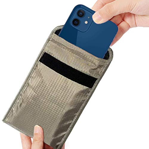 Faraday Bag Anti Radiation Cell Phone Sleeve Pregnant Cell Phone GPS EMF RFID Signal Blocking Bag Compatible with iPhone 12 pro Shielding Pouch Privacy Protection Wallet