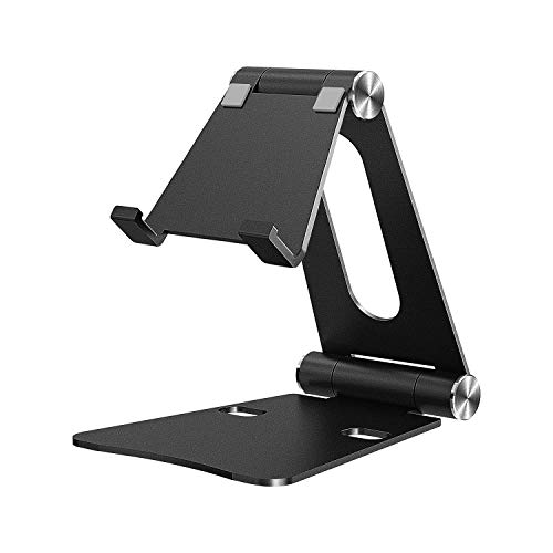 """iKsee Cell Phone Stand, Adjustable Phone Stand, Dual Foldable Cell Phone Holder, Cradle, Dock for 4-10"""" Android Smartphone iPhone X 8 7 6 6s Plus 5 5s 5c iPad Mini, Desk Accessories-Black"""