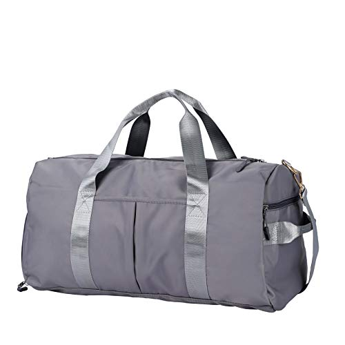 Gym Sports Duffle Bag - Waterproof Travel Duffel Bag with Wet Pocket and Shoes Compartment Overnight Weekender Bag for Women and Men (GRAY)