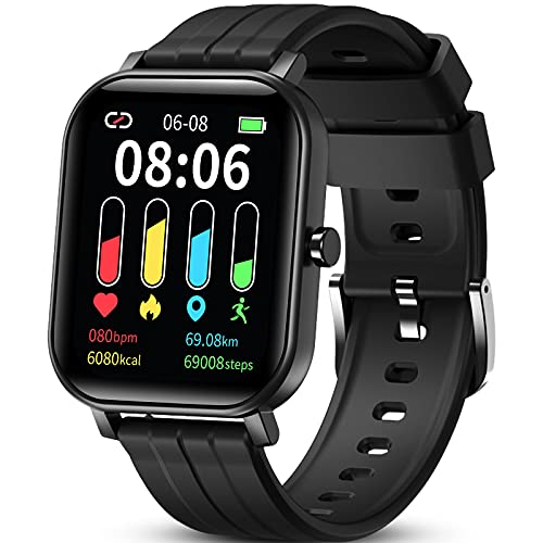 GOKOO Smartwatch for Men Women 24 Sport Modes Fitness Activity Tracker 1.65 'Touchscreen IP67 Notifications Messages Bracelet Sleep Monitor Heart Rate Monitor for iOS Android, Black
