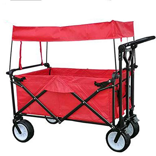 Storage Trolleys with Canopy, Children's Luggage Cart 4 Wheel Portable Shopping Cart Ideal for Outdoor Camping, Load: 150Kg (Color : Red)