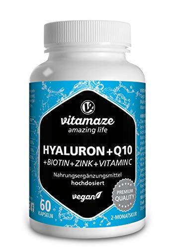Ácido Hialurónico Puro + Coenzimas Q10, Alto Concentrado Cápsulas Vegano para una Cura de 2 Meses, Tamaño Molecular 500-700 kDa, sin Aditivos Innecesarios, Calidad Alemana