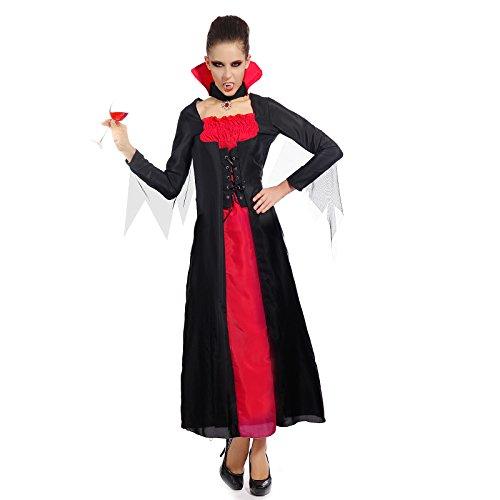 maboobie Costume Robe de Deguisement Noir et Rouge Vampire Sorciere pr Halloween