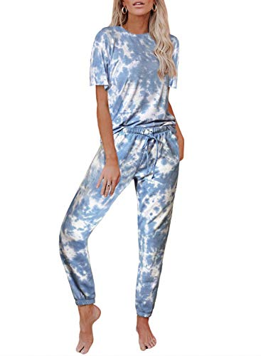 Hawiton Schlafanzug Lang Damen Tie Dye Sommer Pyjama Nachtwäsche Nachthemd Hausanzug Ausschnitt Sleepshirt Zweiteiliger