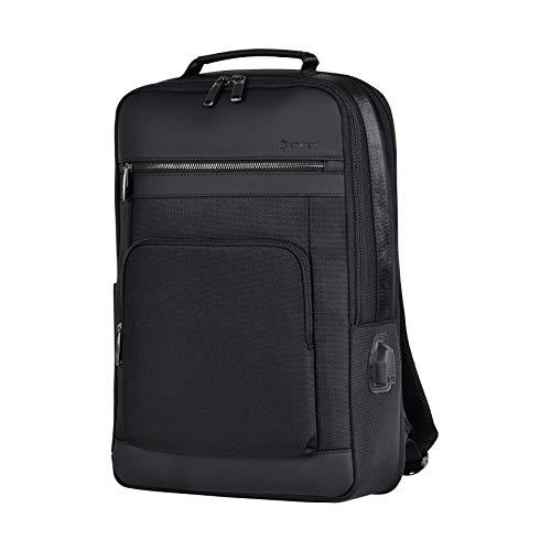 Eminent Laptop-Rucksack Urban Elite 44cm (16 Zoll) 26l USB-Ladeanschluss Diebstahlschutz leicht groß erweiterbar Tagesrucksack für Business Arbeit Reisen Outdoor für Damen Herrn Uni Schwarz