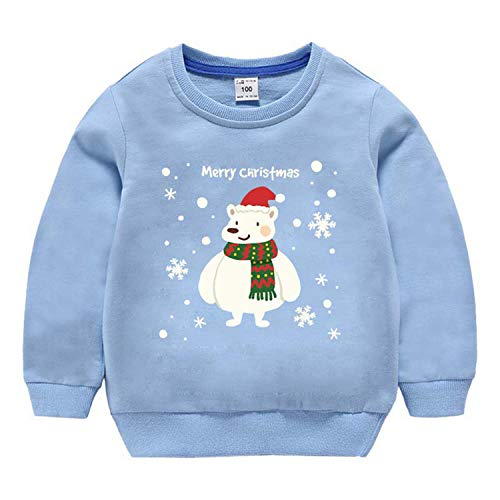 Children's Christmas Sweater Autumn Teenagers Clothes Boy and Girl Cartoon Print Long Sleeve T-Shirt Baby Casual Cotton Pullover Sky Blue 110