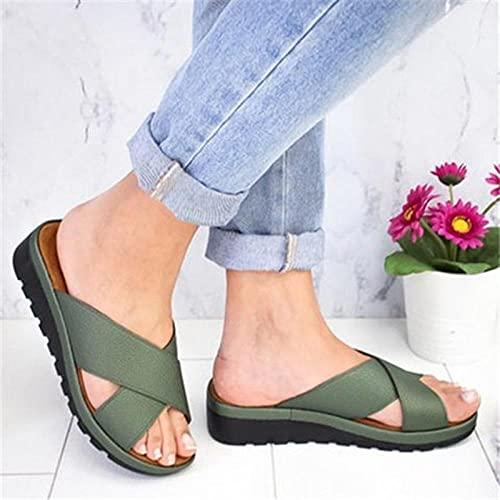 WENHUA Zapatillas de Estar por Casa de Hombre y Mujer, Mujeres/Hombres Zapatilla de Baño Zapatos, Sra. Wedge con Pantuflas Gruesas sin Fondo, Green_37