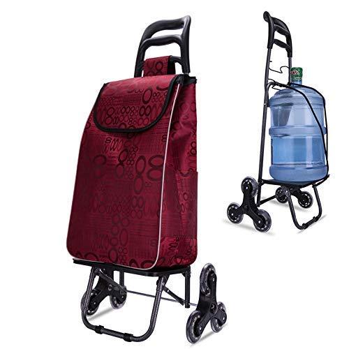 YXYXX Carro plegable para subir escaleras utilitario, rodante 6 ruedas Trolley casero de gran capacidad Trolley ligero de compras (rojo) 4 4