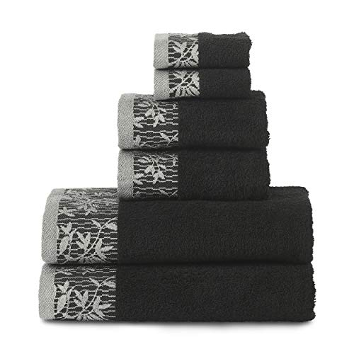 SUPERIOR Wisteria 500GSM, 100% Cotton, 6-Piece Towel Set, Black