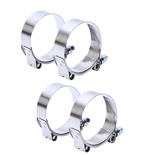 LTI Working Range 38mm-44mm T-Bolt Clamps High PSI Premium Quality Full 304 Stainless Steel Turbo Intercooler Hose For 1.25 Hose ID 2 Pack