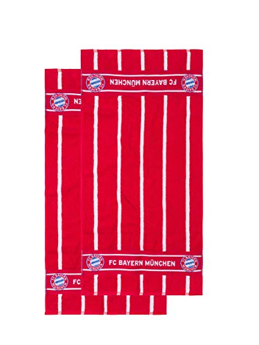 FC Bayern München Handtuch-Set, rot/weiß gestreift mit großem Logo, 2er Set