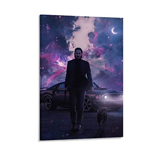 GHRF John Wick Wallpaper 4K Android Impression sur toile pour chambre familiale moderne 60 x 90 cm