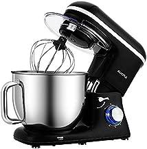 Aucma Stand Mixer,7.4QT 6-Speed Tilt-Head Food Mixer, Electric Kitchen Mixer with Dough Hook, Wire Whip & Beater (Black)
