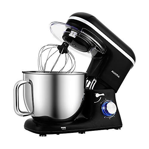Aucma Knetmaschine Küchenmaschine, 7L Tilt-Head Geräusche Knetmaschine, 6 Geschwindigkeit mit Rührbesen, Knethaken, Schlagbesen, Spritzschutz und Edelstahlschüssel Teigmaschin 1400W,Schwarz