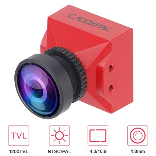 FPV Camera Caddx Ratel Mini 1200TVL 1.8mm Micro Cam FOV 160 Degree PAL/NTSC System 4:3/16:9 Switchable with 1/1.8 Inch CMOS Starlight Super WDR Support OSD for FPV Quadcopter Racing Drone Red