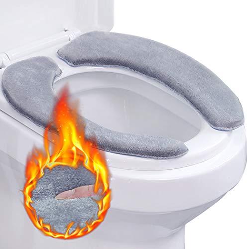 Outgeek WC-Sitzbezug, 2 PCS Toilettensitzbezug WC-Sitzwärmer Memory WC Sitzkissen Foam Waschbar Wc-Sitz Pad Wc Wärmer Pad