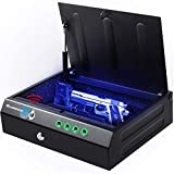 Gun Safe for Pistols with Fingerprint Digital Lock Key Quick Access Smart Biometric Pistol Safe for Home Personal Safe Large Capacity for 2 Pistols Handgun Safe for Nightstand with Voice Broadcasts