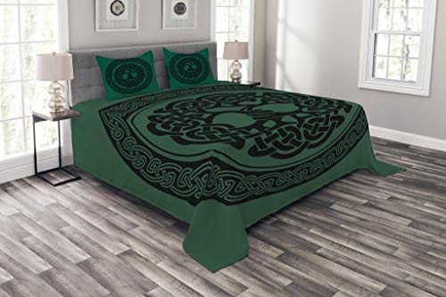ABAKUHAUS keltisch Tagesdecke Set, Baum des Lebens Muster, Set mit Kissenbezügen Moderne Designs, für Doppelbetten 264 x 220 cm, Wald grün-schwarz