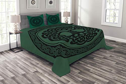 ABAKUHAUS keltisch Tagesdecke Set, Baum des Lebens Muster, Set mit Kissenbezügen Moderne Designs, für Doppelbetten 220 x 220 cm, Wald grün-schwarz