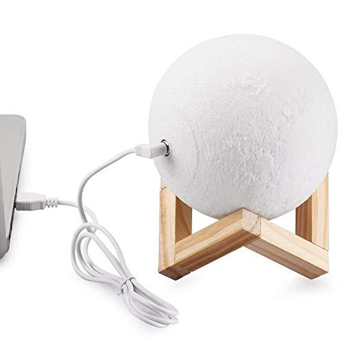 Yangeryang Luces decorativas - interruptor táctil de 2 colores Impresión en 3D Lámpara de luna USB Carga de la luz de ahorro de energía Luz de noche con base de soporte de madera, lámpara de decoració