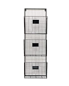 Three Tier Wall File Holder – Durable Black Metal Rack with Spacious Slots for Easy Organization Mounts on Wall and Door for Office Home and Work – by Designstyles