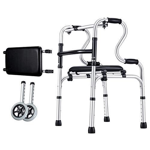 Gehhilfe mit Rädern Leichtes zusammenklappbares Aluminium, höhenverstellbar für ältere Menschen (E)