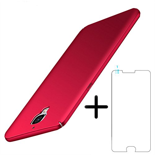 Funda OnePlus 3 / 3T Caso con Protector de Pantalla de Vidrio Templado, Blossom01 Delgada y Fina Cover, Protector de Cubierta Mate con Recubrimiento Anti-Rayado Funda para OnePlus 3 / 3T (Rojo)