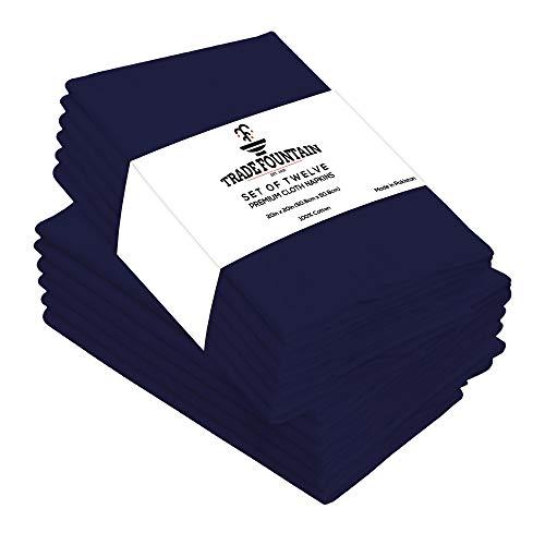 Trade Fountain Servilletas de tela Juego de 12 algodón - Servilletas reutilizables de 50 X 50 CM - Servilletas de algodón de gran tamaño hechas de tela de algodón puro - (azul)