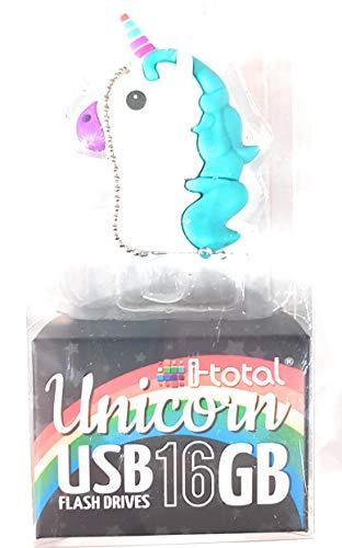 i-total, Llave USB Unicorne–Unicornio–Multicolor Bleu- 16GB
