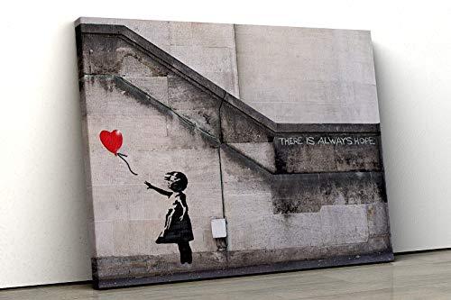 52 North Banksy Graffiti Girl with Balloon – There is always hope famoso arte de pared impreso en varios tamaños (A2 61 x 40 cm)
