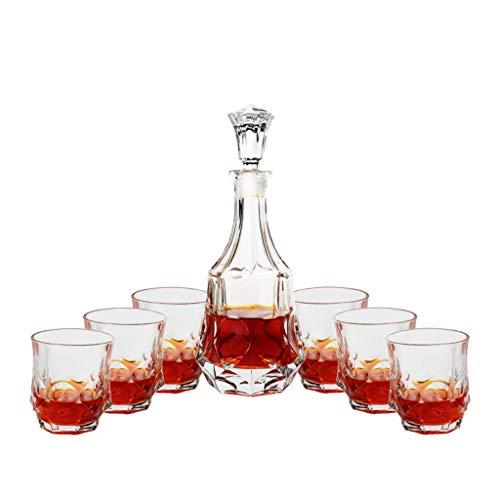 Xuan - worth having Copas de Vino Copa de Whisky para el hogar Set Copa de Vino 6 7 Sets de Estilo Europeo Creativo Cubierto con decantador de Botella de Vino Tinto Helado