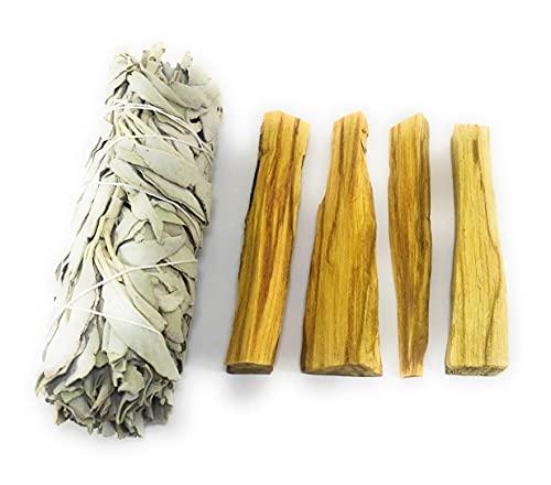 Salvia Blanca de California 13 cm/60-70 g - Palo Santo de Perú 50 g. Limpian y equilibran Las energías. Protección y purificación Espiritual
