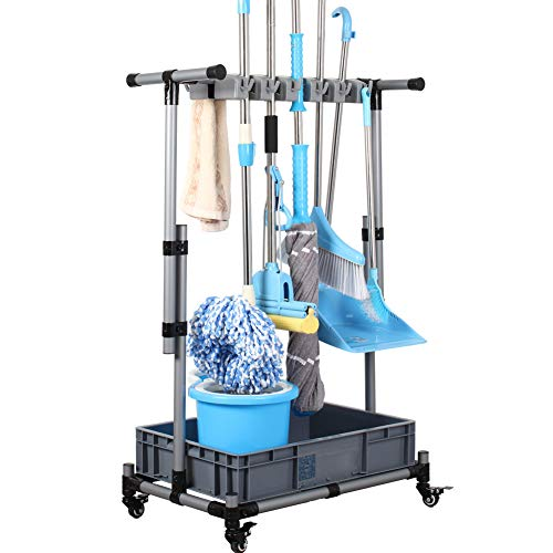 QTJH Broom And Mop Holder Put Wet Mops Movable Floor-Mounted Mop Rack Floor Standing Cleaning Tool Cart Storage For Garden Garage Schools, Hospitals, Factories, Hotels,Property Companies,
