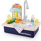 Kitchen Sink Spielzeug, waschen Küchen-Sets mit fließendem Wasser Haus Pretend Play Role Play Küchen für Kleinkinder Jungen Mädchen, Geschirrspüler mit Arbeits Hahn & Drain (Pink),Blau