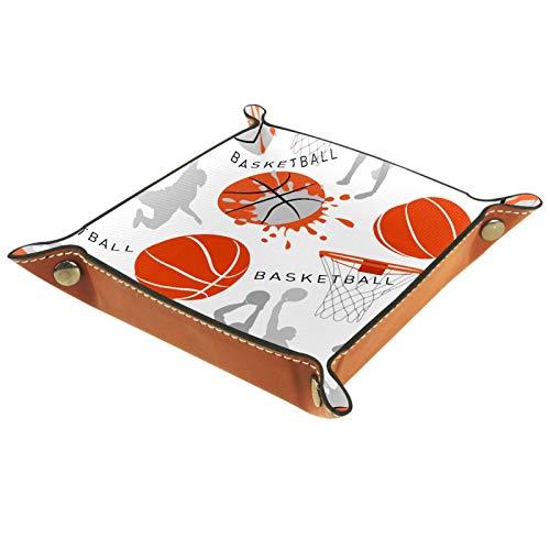 rodde Bandeja de Valet Cuero para Hombres - Balón Deporte Baloncesto - Caja de Almacenamiento Escritorio o Aparador Organizador,Captura para Llaves,Teléfono,Billetera,Moneda