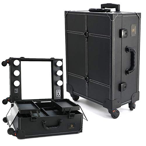 LUVODI Maleta Maquillaje Profesional con ruedas Maletín para maquillaje de gran capacidad Estuche de Cosméticos con Espejo y 6 bombillas de LED Color Negro