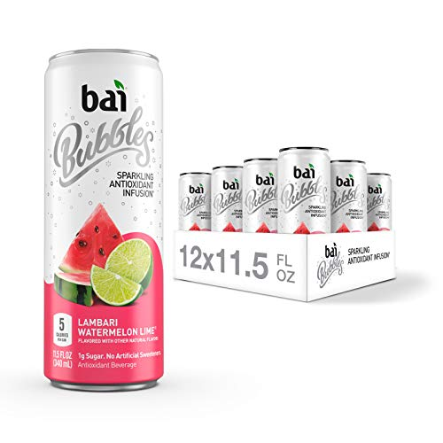 Bai Bubbles, Sparkling Water, Lambari Watermelon Lime, Antioxidant Infused Drinks, 11.5 Fluid Ounce Cans, 12 Count