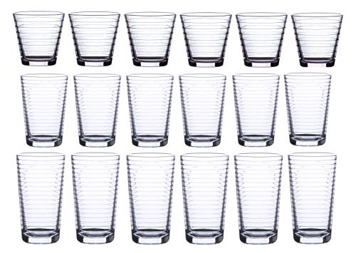 18 Piece Drinking Glassware Set,...