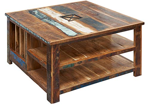 MASSIVMOEBEL24.DE Table Basse carrée 90x90cm - Bois Massif recyclé Multicolore laqué - Inspiration Ethnique - Nature of Spirit #105