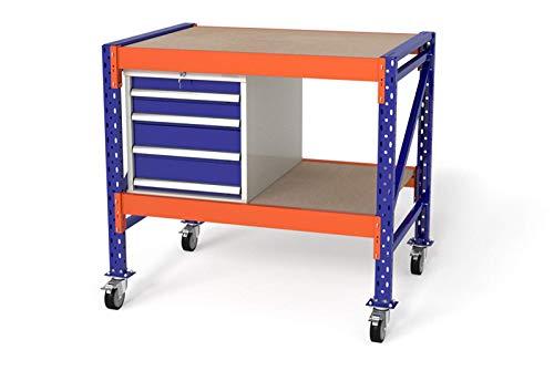 TOPREGAL, werkbank, werktafel, verrijdbaar, werkplaatswagen, B120xH104xD80cm, multiplexplaat, module: 1x WS4/1x houten vloer