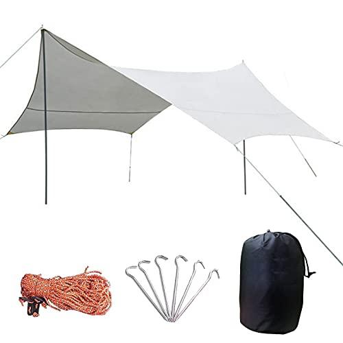 0℃ Outdoor Toldo de Refugio Impermeable 4.4m X 4.4m, Ripstop Rain Tarp Beach Tent de Tela Oxford Impermeable de 3000 Mm Hamaca Tienda de Campaña para Hamaca Furgoneta Playa Vivac Exterior,Ivory White