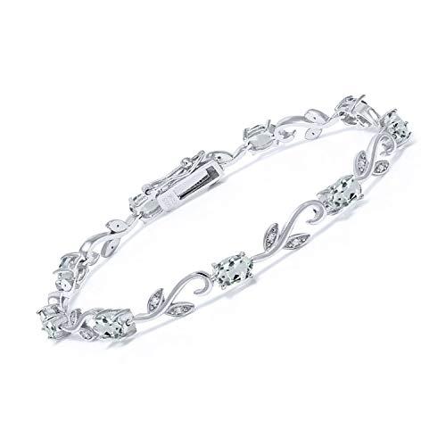 Gem Stone King 925 Sterling Silver 4.00 Ct Oval Sky Blue Aquamarine Greek Vine 7 Inch Diamond Tennis Bracelet
