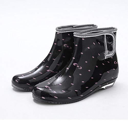 HO-TBO Botas De Lluvia Damas Tubo Corto del jardín Botas de Lluvia de la Hebilla Antideslizante Agua Zapatos de la impresión de diseño Multicolor Opcional Antideslizante E Impermeable